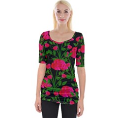 Roses At Night Wide Neckline Tee