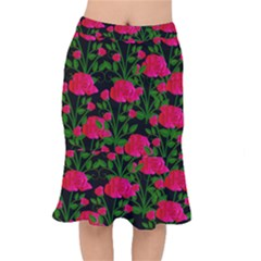 Roses At Night Mermaid Skirt