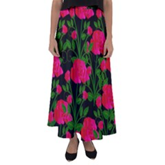 Roses At Night Flared Maxi Skirt