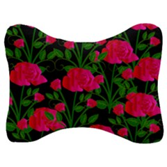 Roses At Night Velour Seat Head Rest Cushion