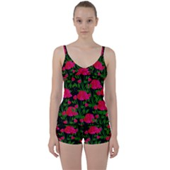 Roses At Night Tie Front Two Piece Tankini