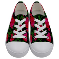 Roses At Night Kids  Low Top Canvas Sneakers