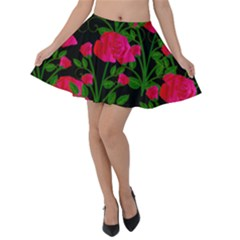 Roses At Night Velvet Skater Skirt