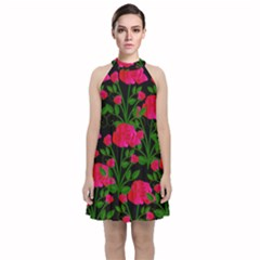 Roses At Night Velvet Halter Neckline Dress