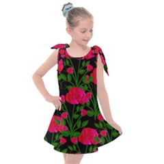 Roses At Night Kids  Tie Up Tunic Dress