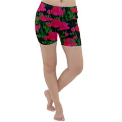 Roses At Night Lightweight Velour Yoga Shorts