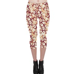 Officially Sexy Coffee & Cream Cracked Pattern Capri Leggings  by OfficiallySexy