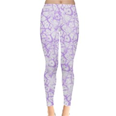 Officially Sexy Pinkish Purple & White Cracked Pattern Leggings  by OfficiallySexy