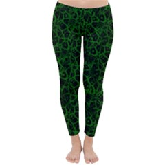 Officially Sexy Green & Black Cracked Pattern Winter Leggings