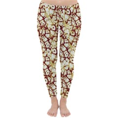 Officially Sexy Brown & Tan Cracked Pattern Winter Leggings