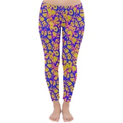 Officially Sexy Orangy Yellow Pink & Blue Cracked Pattern Winter Leggings