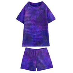 Purple Dragon Scales Kids  Swim Tee And Shorts Set by bloomingvinedesign