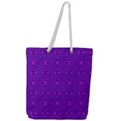 Bold Geometric Purple Circles Full Print Rope Handle Tote (large) by BrightVibesDesign
