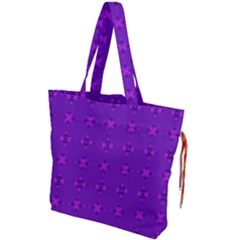 Bold Geometric Purple Circles Drawstring Tote Bag by BrightVibesDesign