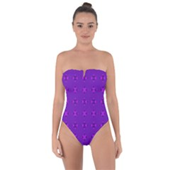 Bold Geometric Purple Circles Tie Back One Piece Swimsuit