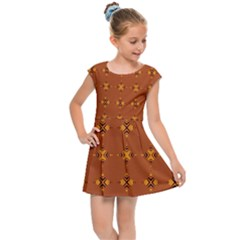 Bold  Geometric Yellow Circles Sm Kids Cap Sleeve Dress by BrightVibesDesign