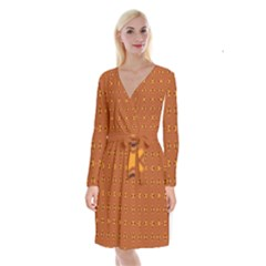 Bold  Geometric Yellow Circles Sm Long Sleeve Velvet Front Wrap Dress by BrightVibesDesign