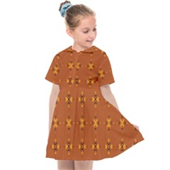 Bold  Geometric Yellow Circles Sm Kids  Sailor Dress