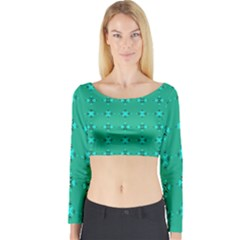 Modern Bold Geometric Green Circles Sm Long Sleeve Crop Top by BrightVibesDesign