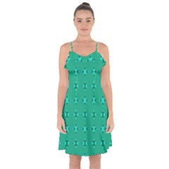 Modern Bold Geometric Green Circles Sm Ruffle Detail Chiffon Dress