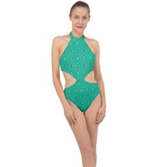 Modern Bold Geometric Green Circles Sm Halter Side Cut Swimsuit by BrightVibesDesign