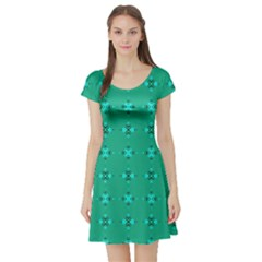 Modern Bold Geometric Green Circles Sm Short Sleeve Skater Dress