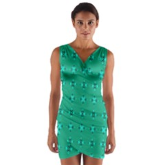 Modern Bold Geometric Green Circles Sm Wrap Front Bodycon Dress by BrightVibesDesign