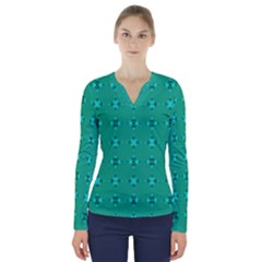 Modern Bold Geometric Green Circles Sm V Neck Long Sleeve Top by BrightVibesDesign