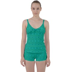 Modern Bold Geometric Green Circles Sm Tie Front Two Piece Tankini by BrightVibesDesign