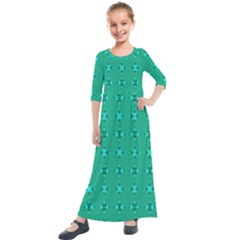 Modern Bold Geometric Green Circles Sm Kids  Quarter Sleeve Maxi Dress by BrightVibesDesign