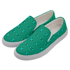 Modern Bold Geometric Green Circles Sm Men s Canvas Slip Ons by BrightVibesDesign