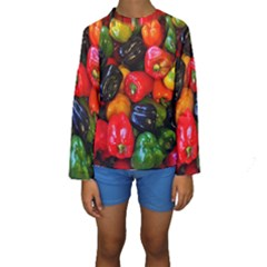 Colorful Bell Peppers Kids  Long Sleeve Swimwear by bloomingvinedesign