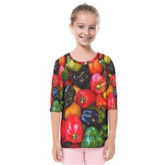 Colorful Bell Peppers Kids  Quarter Sleeve Raglan Tee