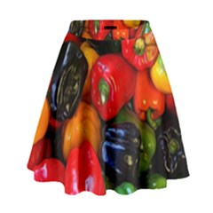 Colorful Bell Peppers High Waist Skirt by bloomingvinedesign