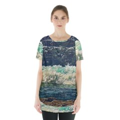 Ocean Wave Close To Shore Skirt Hem Sports Top by bloomingvinedesign