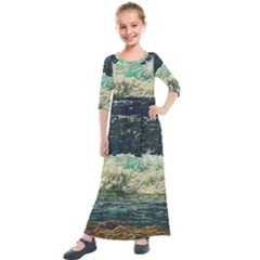 Ocean Wave Close To Shore Kids  Quarter Sleeve Maxi Dress by bloomingvinedesign