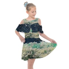 Ocean Wave Close To Shore Kids  Shoulder Cutout Chiffon Dress by bloomingvinedesign