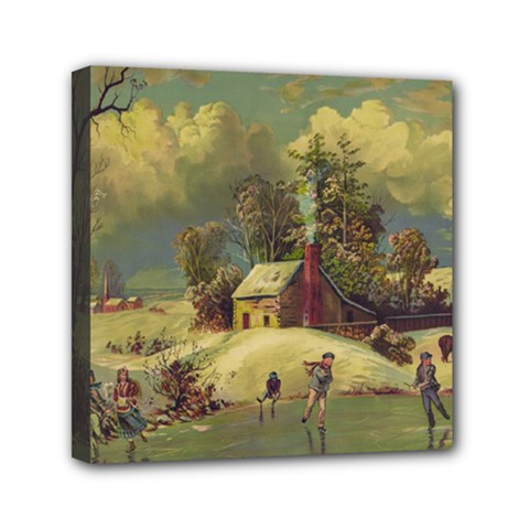 American Winter Life Illustration Basic Correction Mini Canvas 6  X 6  (stretched)