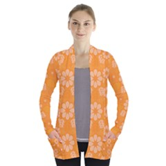 Flowers Open Front Pocket Cardigan