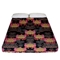 Heavy Metal Meets Power Of The Big Flower Fitted Sheet (queen Size) by pepitasart