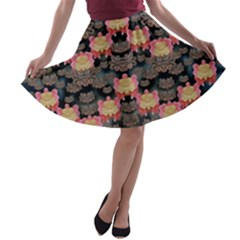 Heavy Metal Meets Power Of The Big Flower A Line Skater Skirt