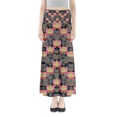 Heavy Metal Meets Power Of The Big Flower Full Length Maxi Skirt