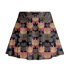 Heavy Metal Meets Power Of The Big Flower Mini Flare Skirt by pepitasart
