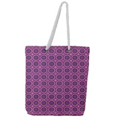 Floral Circles Pink Full Print Rope Handle Tote (large) by BrightVibesDesign