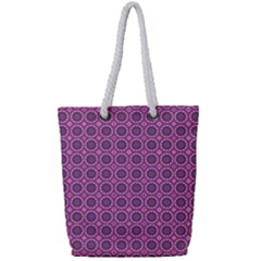 Floral Circles Pink Full Print Rope Handle Tote (small) by BrightVibesDesign