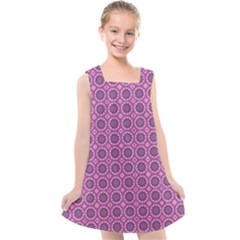 Floral Circles Pink Kids  Cross Back Dress by BrightVibesDesign