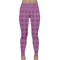 Floral Circles Pink Lightweight Velour Classic Yoga Leggings