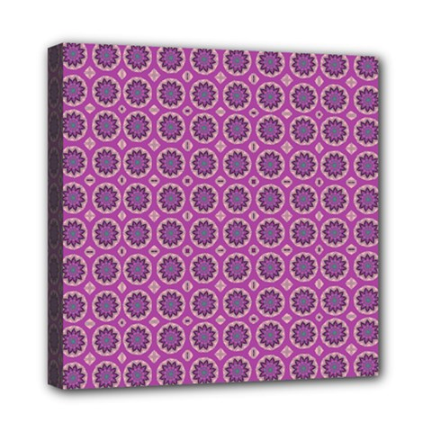 Floral Circles Pink Mini Canvas 8  X 8  (stretched) by BrightVibesDesign