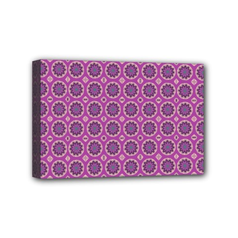 Floral Circles Pink Mini Canvas 6  X 4  (stretched) by BrightVibesDesign