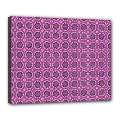 Floral Circles Pink Canvas 20  X 16  (stretched)